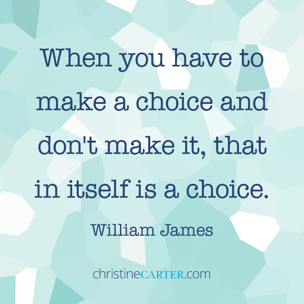 """When you have to make a choice and don't make it, that in itself is a choice."""" -- William James"""