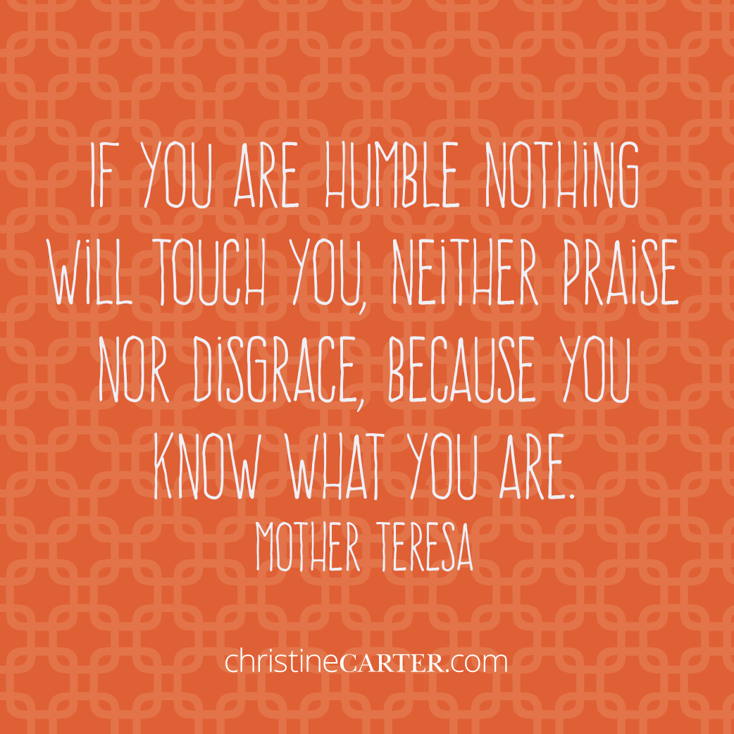 If you are humble nothing will touch you, neither praise nor disgrace, because you know what you are. —Mother Teresa