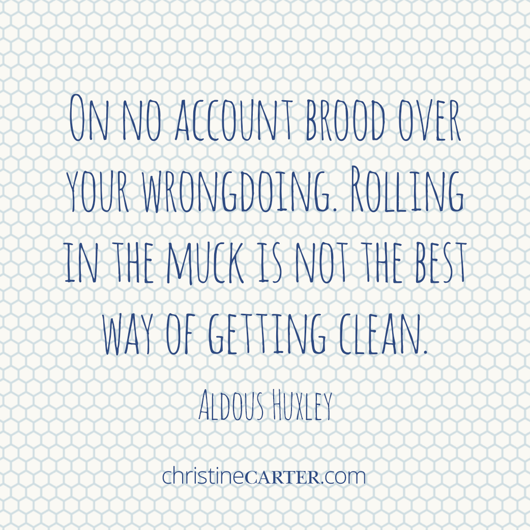 """On no account brood over your wrongdoing. Rolling in the muck is not the best way of getting clean."""" --Aldous Huxley"""