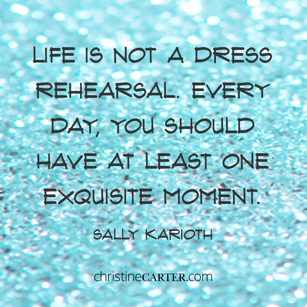 Life is not a dress rehearsal. Every day, you should have at least one exquisite moment. Sally Karioth