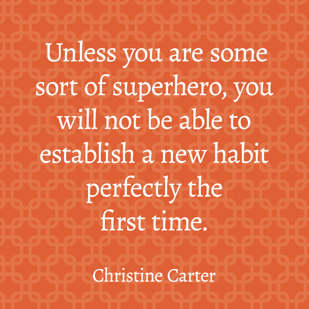 Unless you are some sort of superhero, you will not be able to establish a new habit perfectly the first time.
