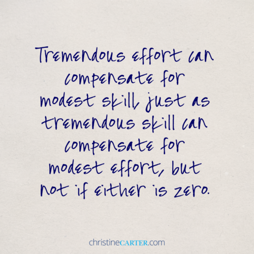 Tremendous effort can compensate for modest skill, just as tremendous skill can compensate for modest effort, but not if either is zero.